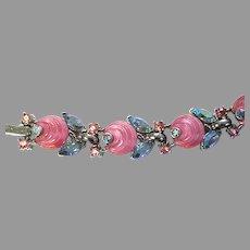 Trifari Pink Shoebutton Cabochon And Blue Aurora Borealis Rhinestone Bracelet