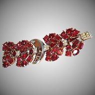 "TRIFARI Wide Red Multi-shape Bracelet ""Jeweled Symphony"" 1950"