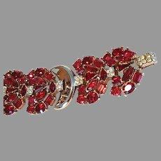 "TRIFARI Wide Red Multi-shape Bracelet ""Jeweled Symphony"" 1950"