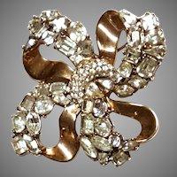 "SPARKLING Trifari ""Jeweled Symphony"" Knot Brooch Pin"