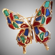 COLORFUL Trifari Butterfly Modern Mosaic Brooch Pin Red Blue Green