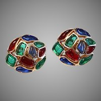 VIVID Trifari Modern Mosaic Round Clip Earrings Red Blue Green