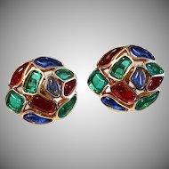 VIVID Trifari Modern Mosaic Round Clip Earrings Red Blue Green