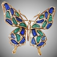 COLORFUL Trifari Butterfly Modern Mosaic Brooch Pin Blue Green