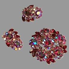 TRIFARI Red Aurora Borealis Domed Brooch (Pin) & Earrings