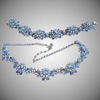 SPARKLING Trifari BLUE Six Domed Bracelet & Necklace Aurora Borealis