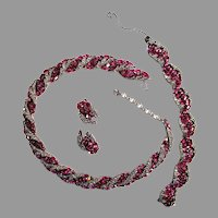 Trifari Necklace Bracelet Earrings Fuchsia Pink Ovals Faux-Black-Diamond 1955