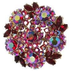 STUNNING Trifari RED AURORA Brooch / Pin & Clip Earrings