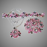 FANTASTIC Trifari Pink & Smoke AURORA Necklace Pin & Bracelet Silvertone