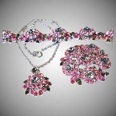 FANTASTIC Trifari Pink & Smoke AURORA Necklace Pin & Bracelet Silvertone