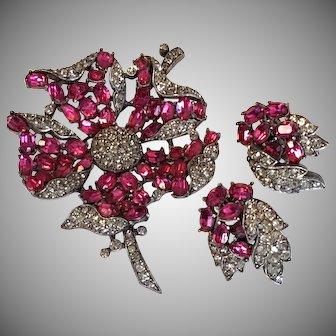 SENSATIONAL Trifari Brooch / Pin & Earrings Fuchsia Pink & Faux Black Diamond