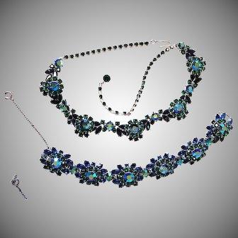 FANTASTIC Trifari Blue & Green AURORA Necklace & Bracelet Silvertone Domed Clusters