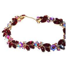 CLASSY Trifari RED Aurora Borealis Bracelet Gold-tone