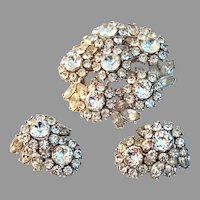 TRIFARI Sparkling Ice CLEAR Domed Brooch & Earrings