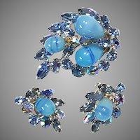 REGENCY Blue Swirl Aurora & Marbled Cabochon Pin Brooch Earrings Silver-tone