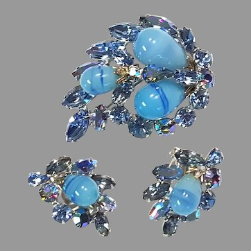 REGENCY Blue Swirl Aurora & Marbled Cabochon Pin Brooch Earrings Silver-tone