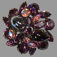 REGENCY Lavender Cabochons & Aurora Domed Pin/Brooch Jappaned Setting