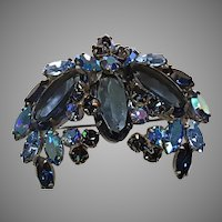 REGENCY Two-toned Blue Marquise shape & Aurora Winged Pin/Brooch