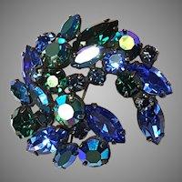 REGENCY Blue & Green Marquise shape & Aurora Pin/Brooch