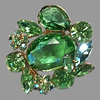 REGENCY Green Marquise shape & Aurora Pin/Brooch Gold-toned Setting
