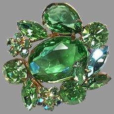 REGENCY Green Marquise shape & Aurora Pin/Brooch Gold-toned Setting