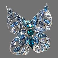Regency EXCEPTIONAL Butterfly Brooch Blue and Turquoise Body Silver-tone Setting