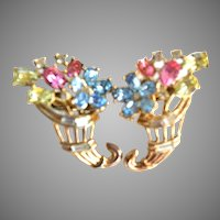 "TRIFARI ""Fragonard"" Pastel Cornucopia Flowers Clip Earrings"