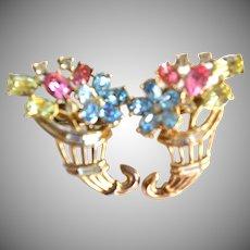 "TRIFARI ""Fragonard"" Pastel Cornucopia Flowers Clip Earrings"