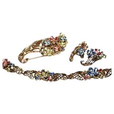 TRIFARI Fragonard Flowers Parure Necklace Bracelet Earrings & Cornucopia Pin