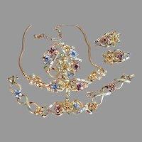 "CORO Pastel Flowers Bracelet, Round Pin & Clip Earrings ""Honora"""