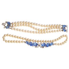 OPULENT Trifari Flora Leaf Blue Fruit Salad Faux Pearl Necklace Bracelet Earrings Dew Drops
