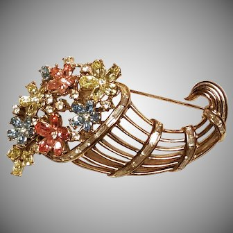 "TRIFARI ""Fragonard"" Pastel Flower Basket Cornucopia Pin/Brooch"