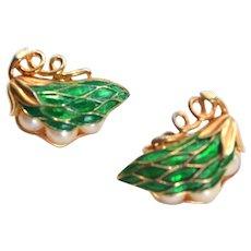 Trifari Earrings PEAS in POD Peapod GREEN Enamel
