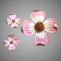 TRIFARI PINK Enamel Dogwood Pin & Earring Set