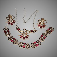 Trifari RED Necklace, Bracelet, Earrings Pat Pend Open Back RED