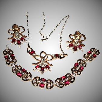 Trifari RED Necklace, Bracelet, Earrings Pat Pend Open Back RED