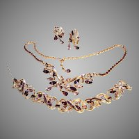 DEMURE Coro Vining Purple Necklace Earrings