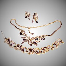 DEMURE Coro Vining Purple Necklace Earrings