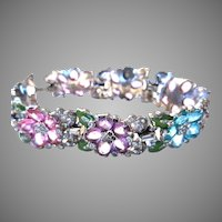 DAZZLING EARLY Trifari Colorful Flowers Bracelet-Open Back Stones