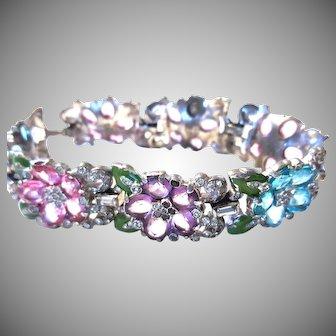 DAZZLING EARLY Trifari Colorful Flowers Bracelet-Open Back Stones