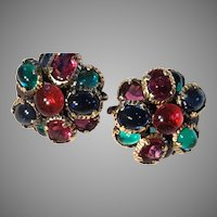 TRIFARI Renaissance Glass Disc Domed Earrings Red Blue Green