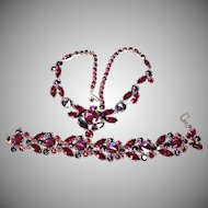 Schiaparelli Shocking Pink and Purple Bracelet & Necklace Set, Signed