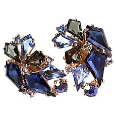 Heavenly Schiaparelli 2-Toned Blue KITE Earrings