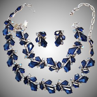 "BREATHTAKING Schiaparelli Blue KITE Parure Necklace Bracelet Earrings    Schiaparelli set with Blue ""kite"" stones and Blue Aurora Borealis"