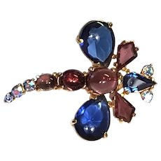 RARE Signed Schiaparelli Dragonfly Blue & Purple Kite Shaped Smoke & Aurora BROOCH