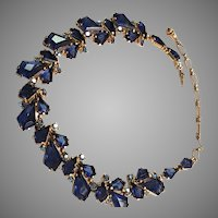 "BREATHTAKING Schiaparelli Blue KITE NECKLACE with Blue ""kite"" stones and Blue Aurora Borealis Rhinestones"