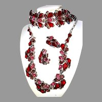 BREATHTAKING Schiaparelli RED Pink KITE Necklace, Bracelet and Earrings