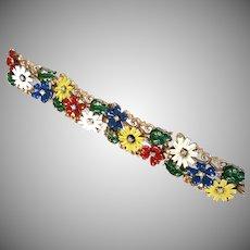 EARLY Trifari Enamel Flower Field Bracelet Multicolor