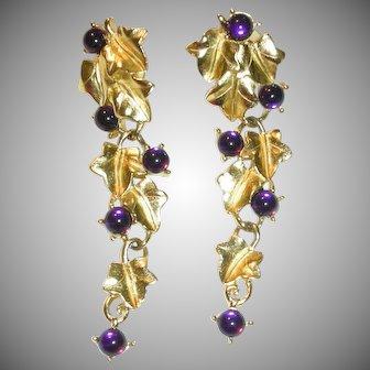 TRIFARI Kunio Matsumoto Dangling Pierced Earrings Purple Grapes