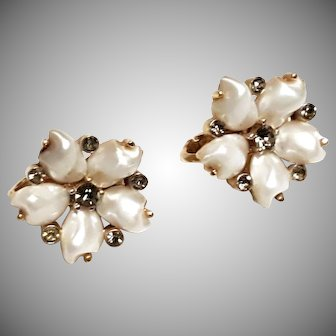 TRIFARI Sorrento Clip Earrings Baby Tooth Faux Pearl and faux Black Diamond